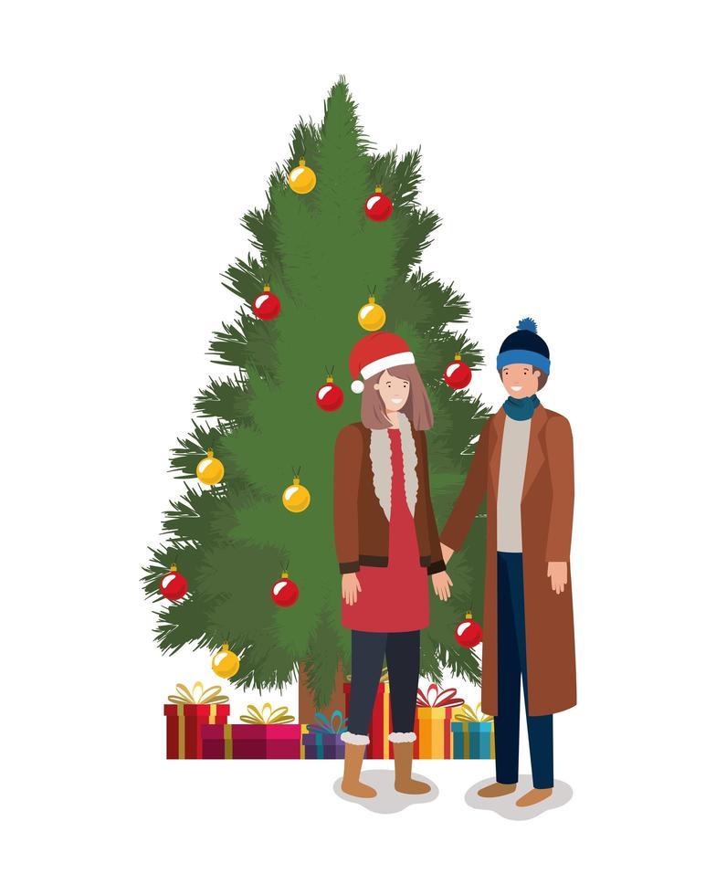 pareja celebrando la navidad vector
