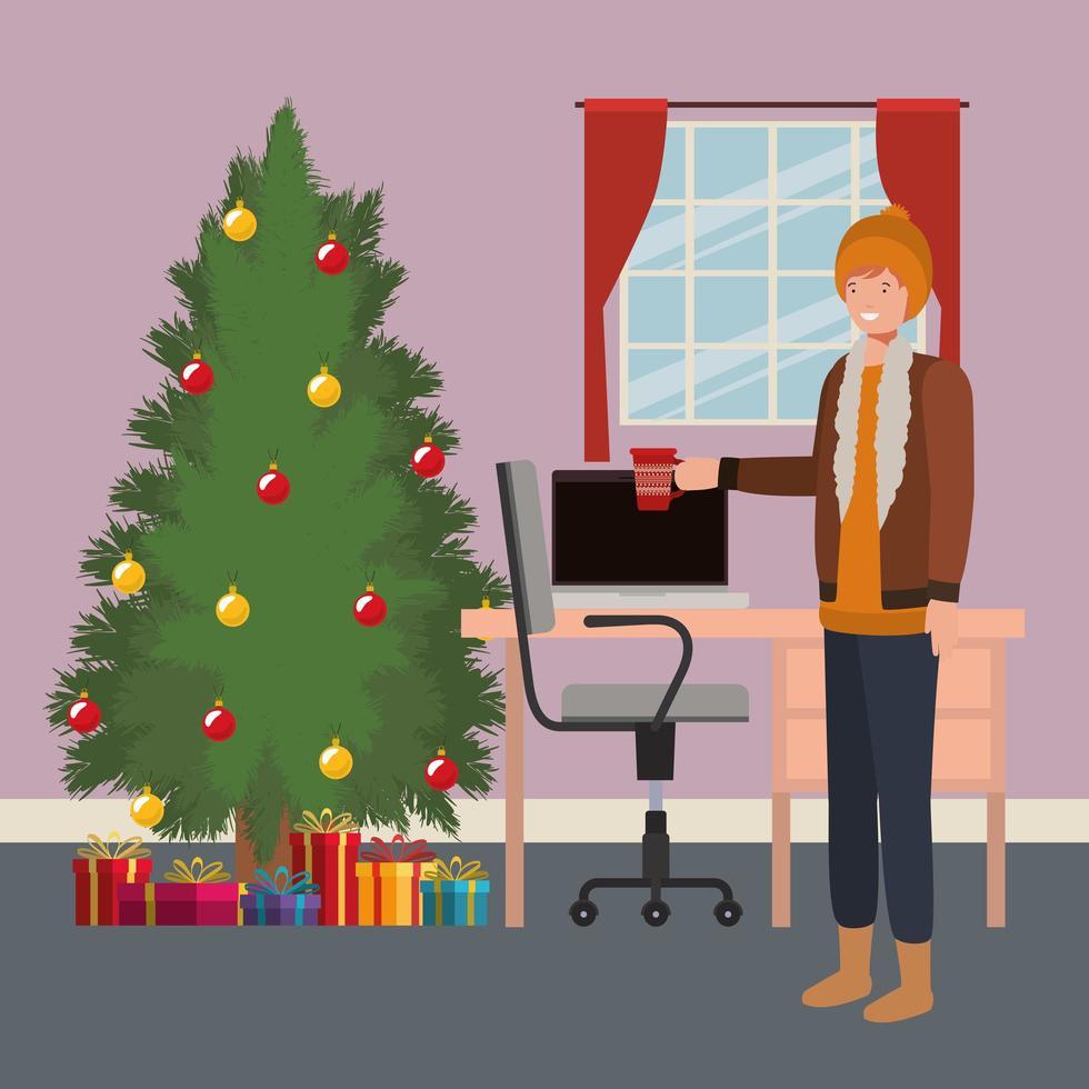 joven con pino en la oficina vector