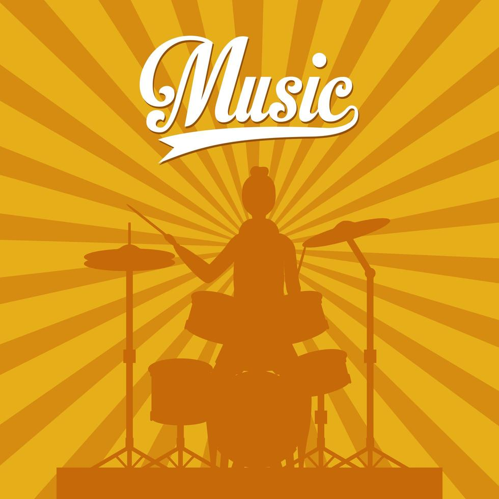 woman playing drums vector