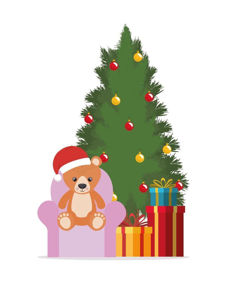 diseño de feliz navidad con pino y oso de peluche vector
