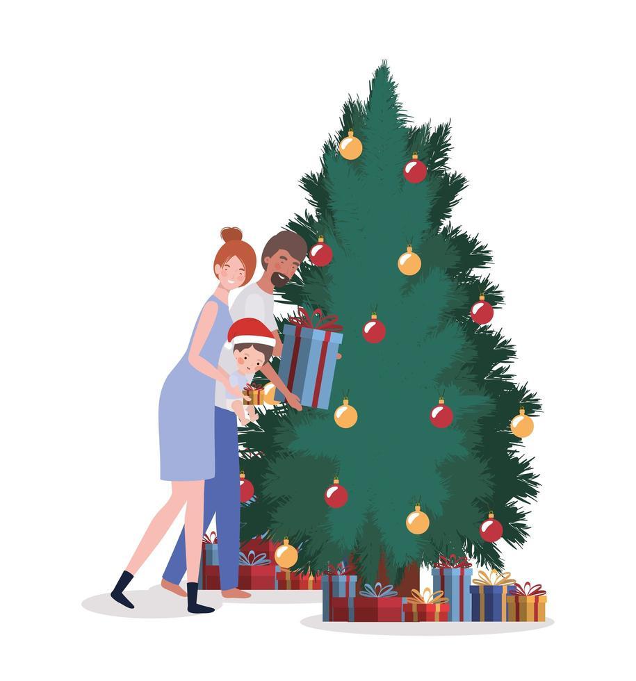 familia interracial celebrando la navidad en casa vector