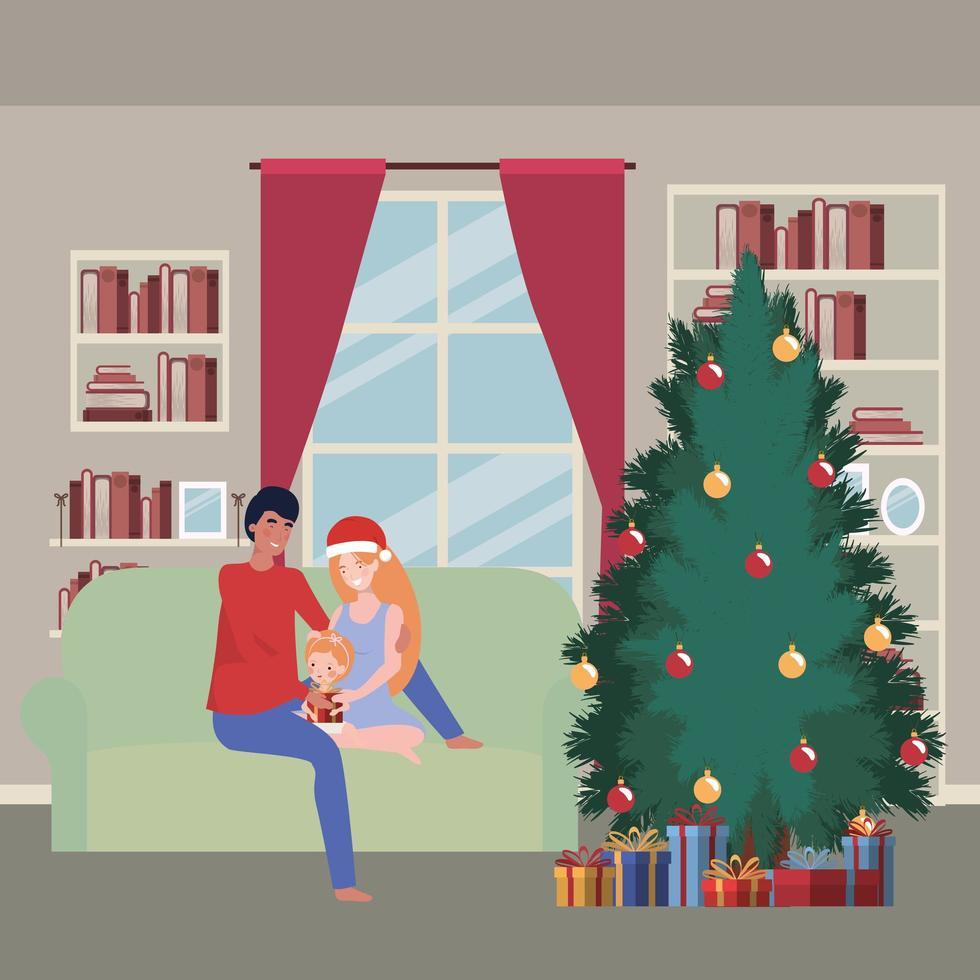 familia celebrando la navidad en casa vector