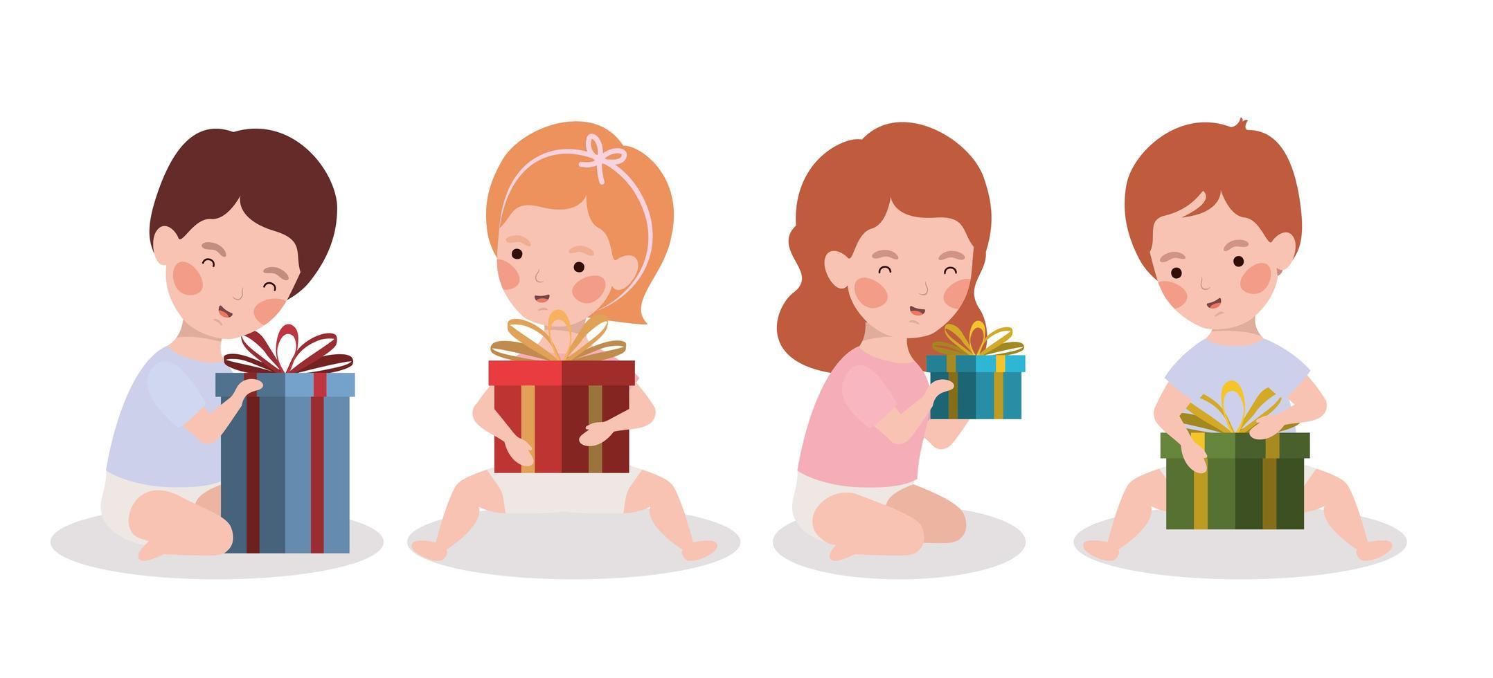 niños pequeños con celebración de regalos de navidad vector