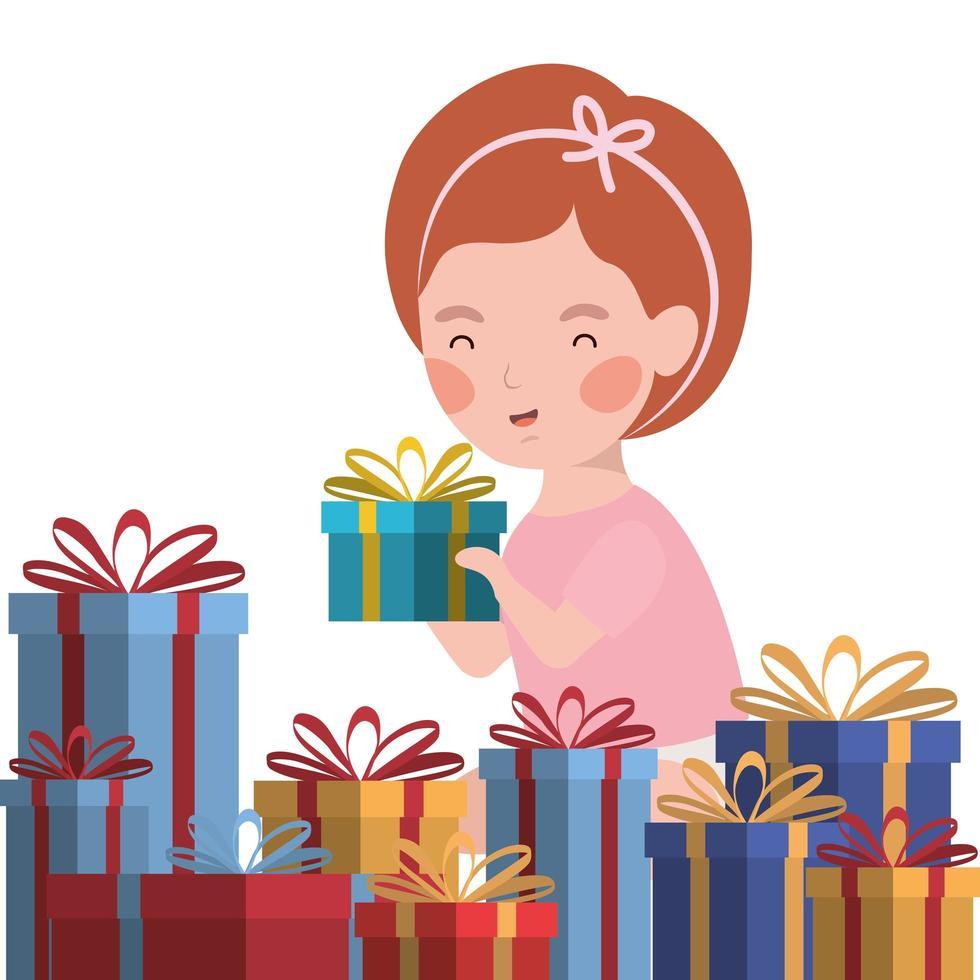 niña con celebración de regalos de navidad vector