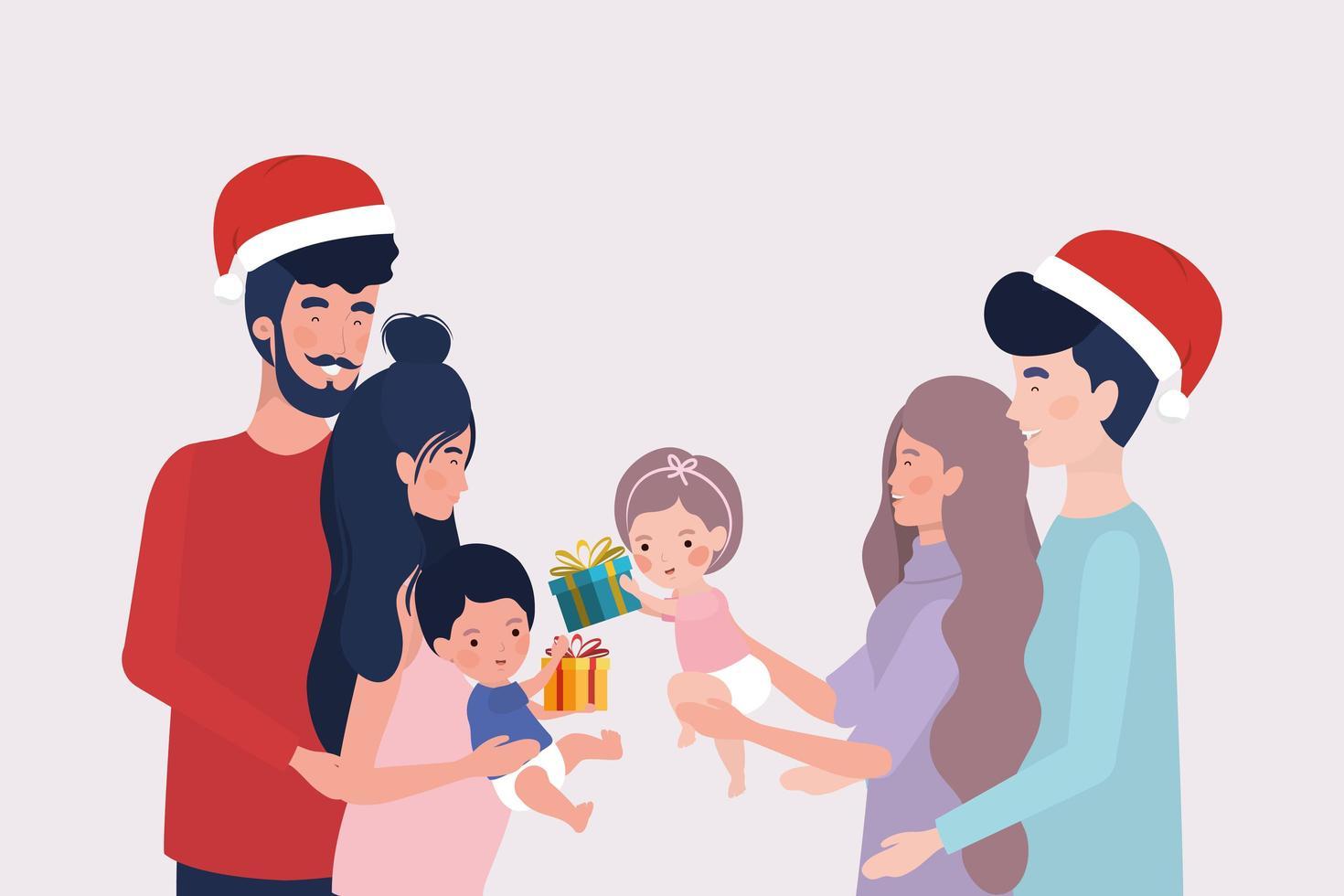 miembros de la familia con celebración de regalos de navidad vector