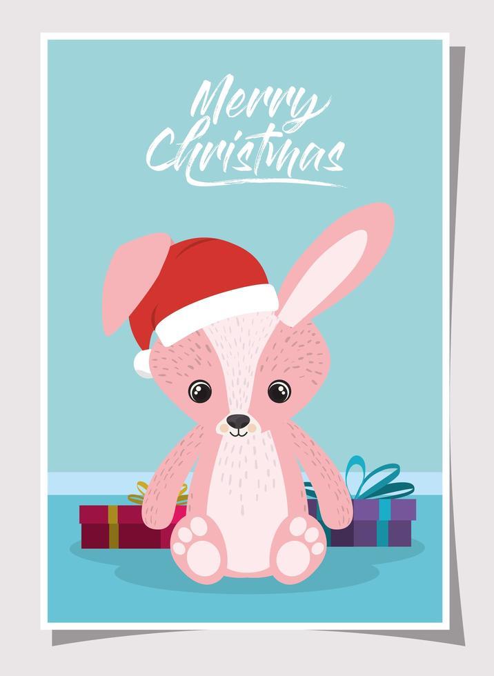 tarjeta de feliz navidad con conejito vector