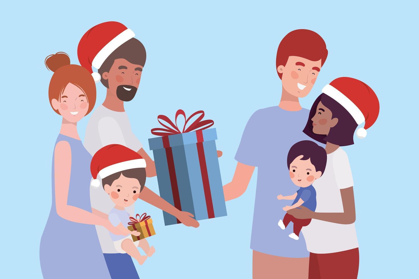 miembros de la familia con regalos de navidad vector