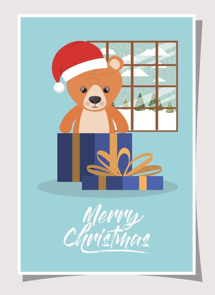 feliz navidad tarjeta con osito de peluche vector