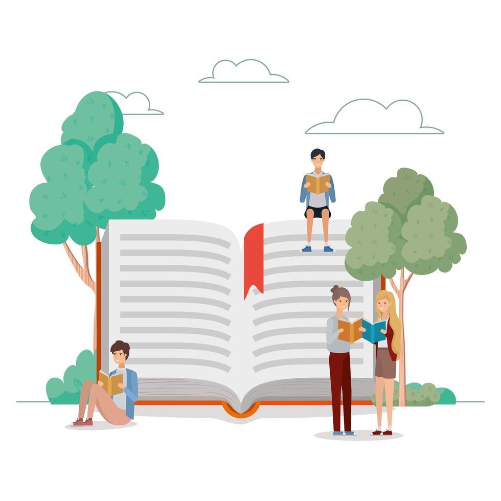 grupo de estudiantes leyendo libros en el parque vector