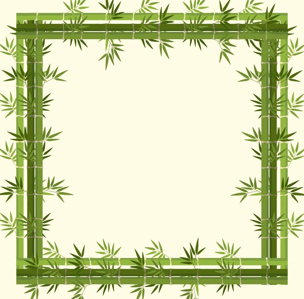 Empty banner with green bamboo frame vector