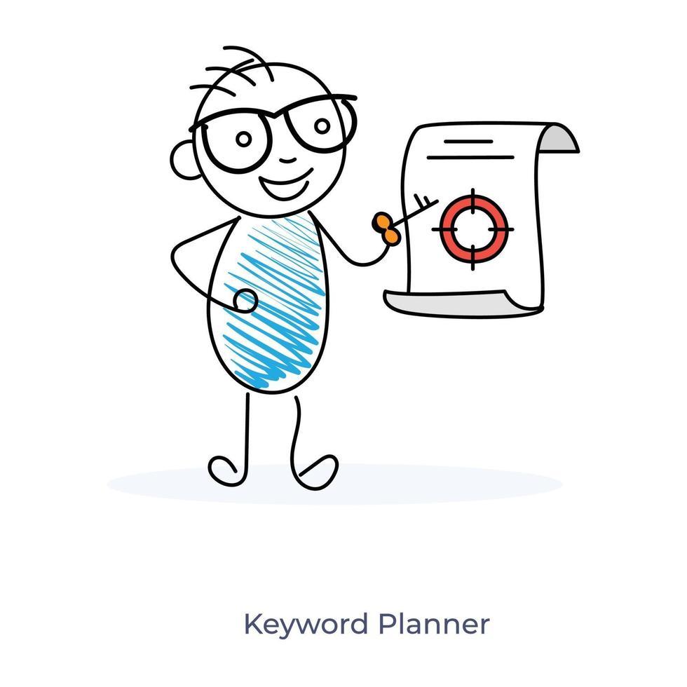Cartoon Character Showing Keyword Planner vector
