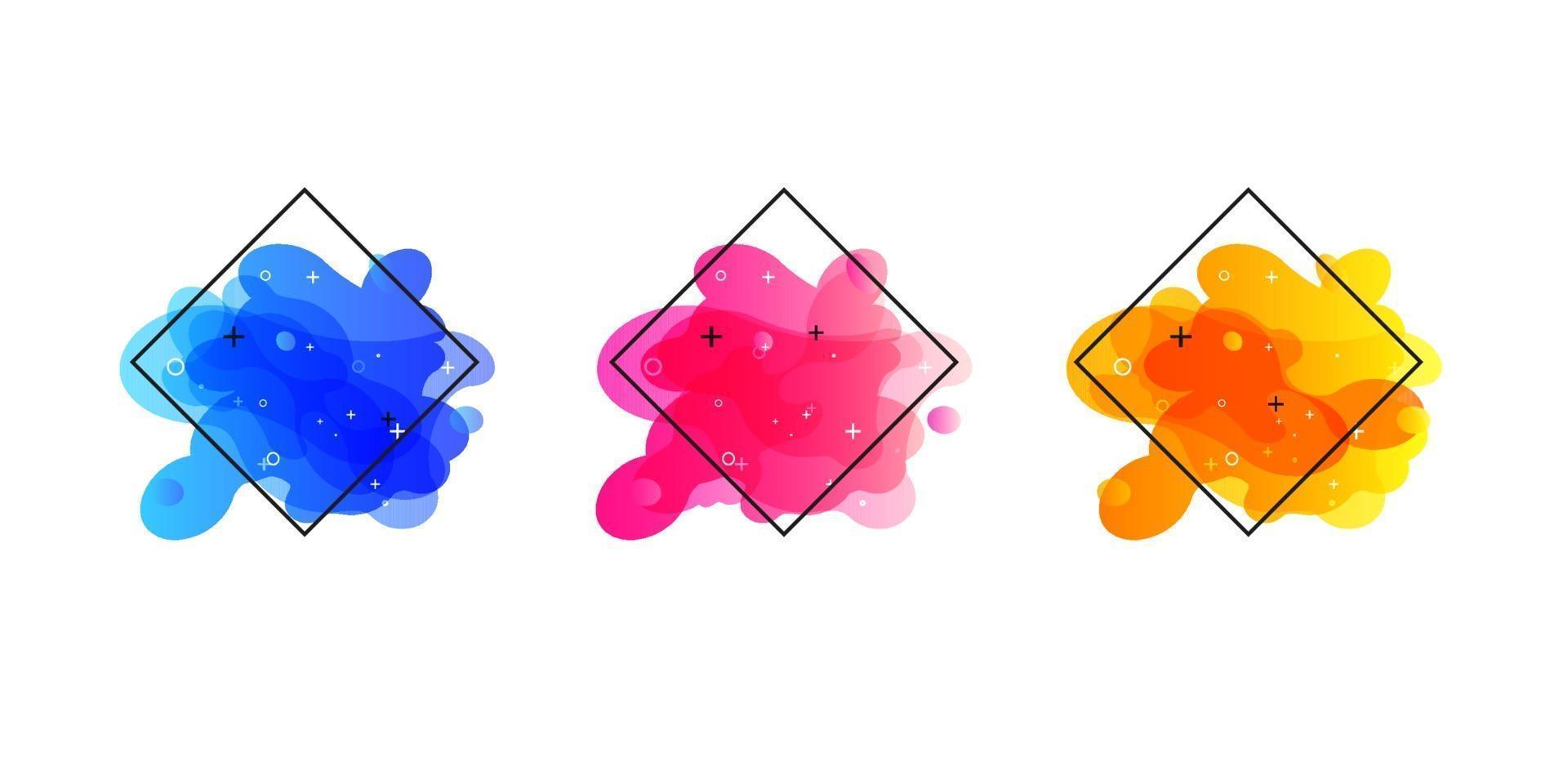 Banners geométricos degradados con formas líquidas que fluyen. Diseño fluido dinámico para logo, flyers o presentación. fondo abstracto del vector