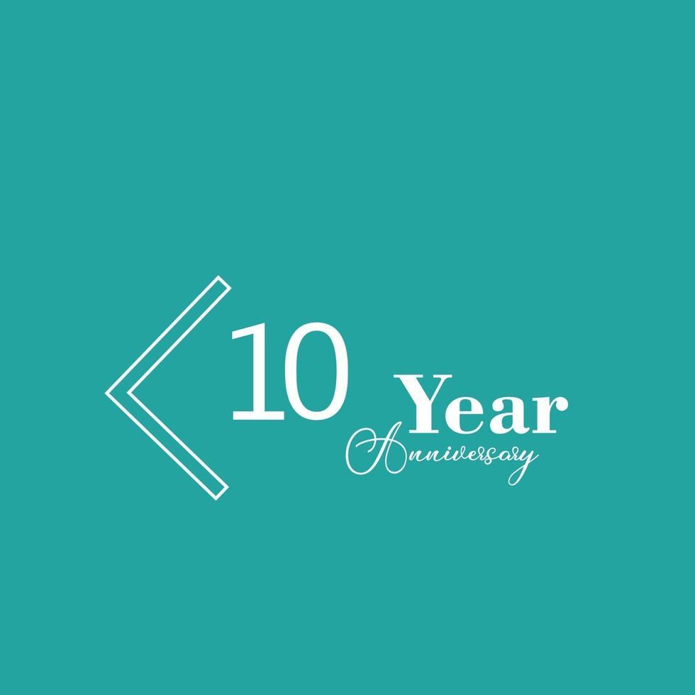 Ilustración de diseño de plantilla de vector de color azul de celebración de aniversario de 10 años