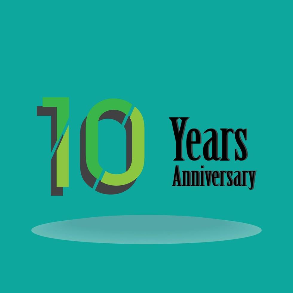 10 Years Anniversary Celebration Green Color Vector Template Design Illustration