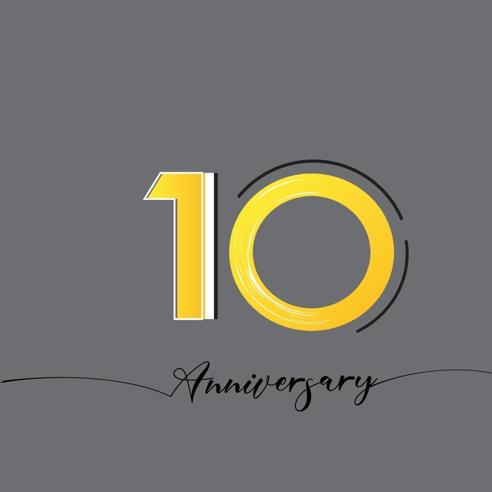 10 Years Anniversary Celebration Yellow Color Vector Template Design Illustration