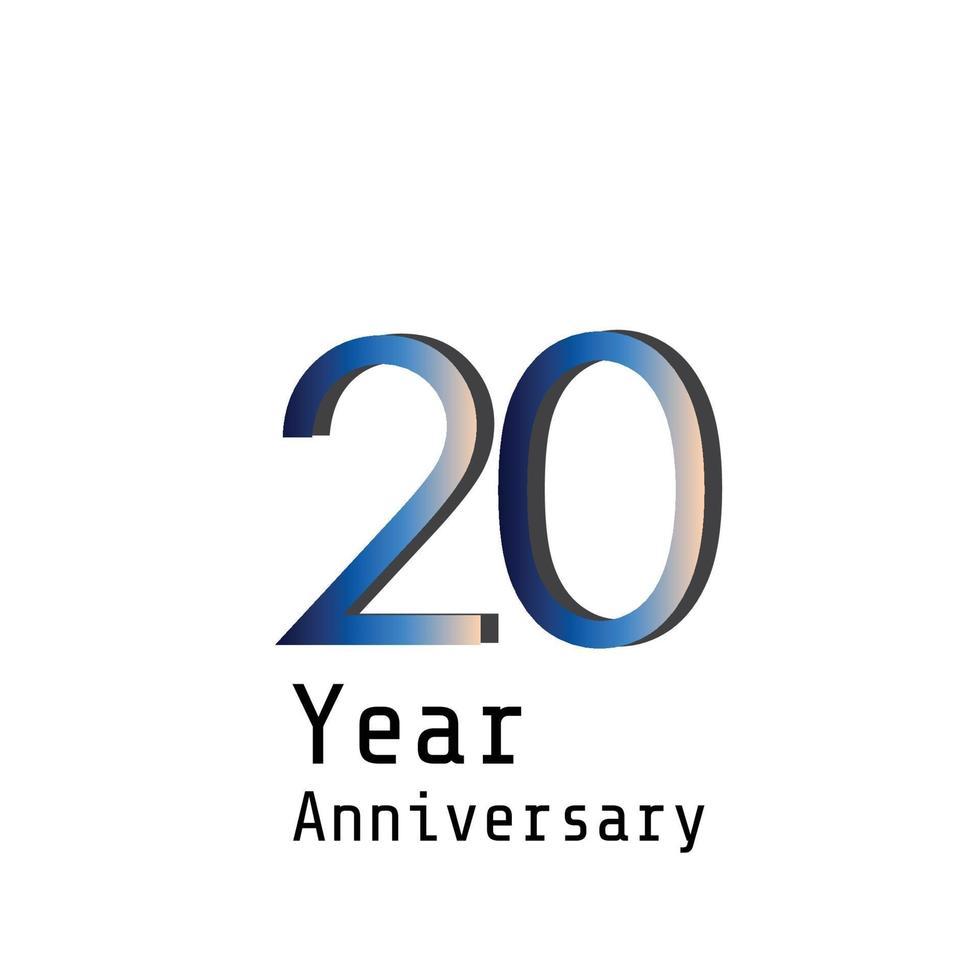 Ilustración de diseño de plantilla de vector de color azul de celebración de aniversario de 20 años