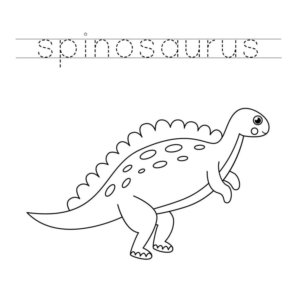 trazando letras con lindos dinosaurios. Practica de la escritura. vector