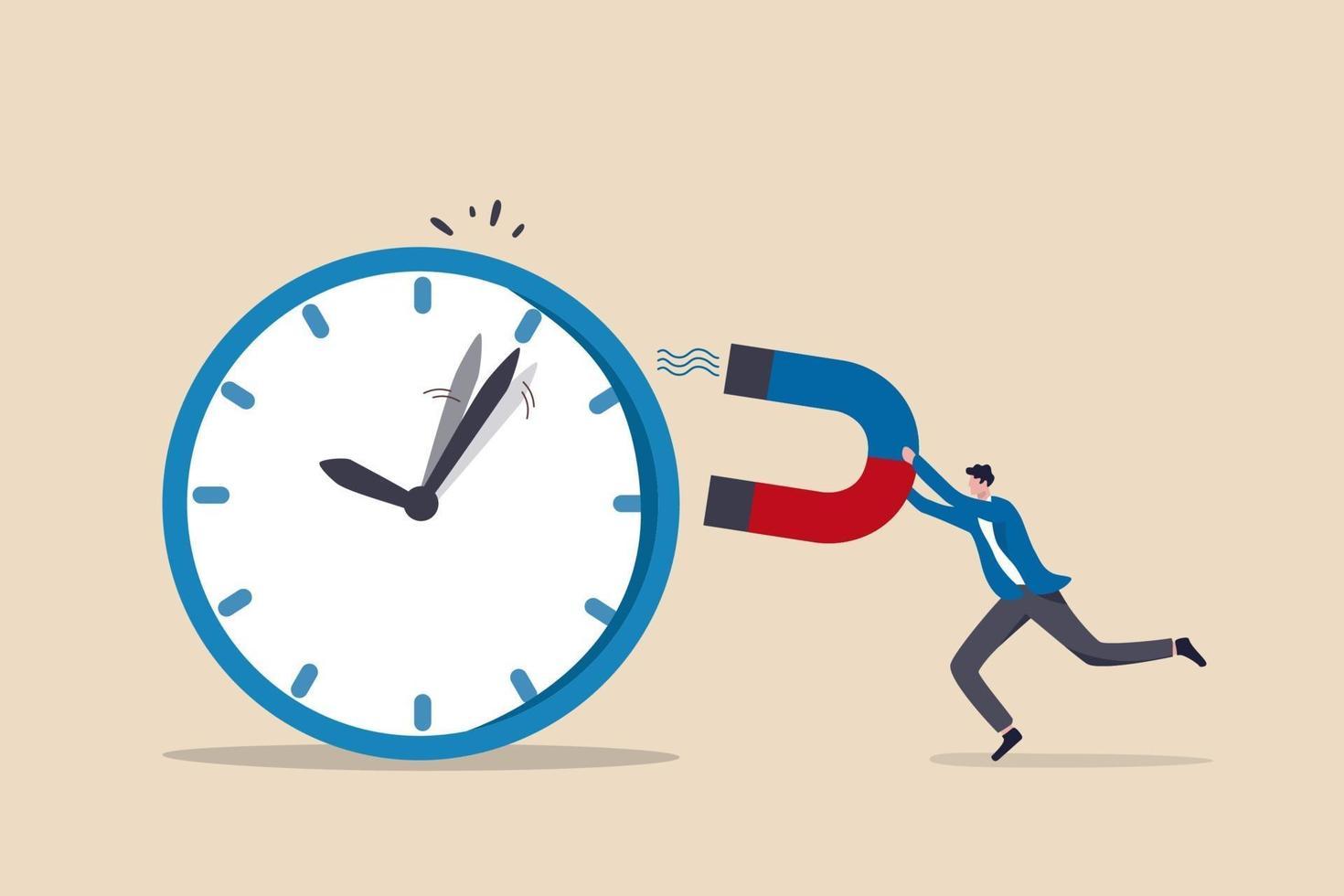 gestión del tiempo, control del tiempo comercial o concepto de fecha límite de trabajo vector