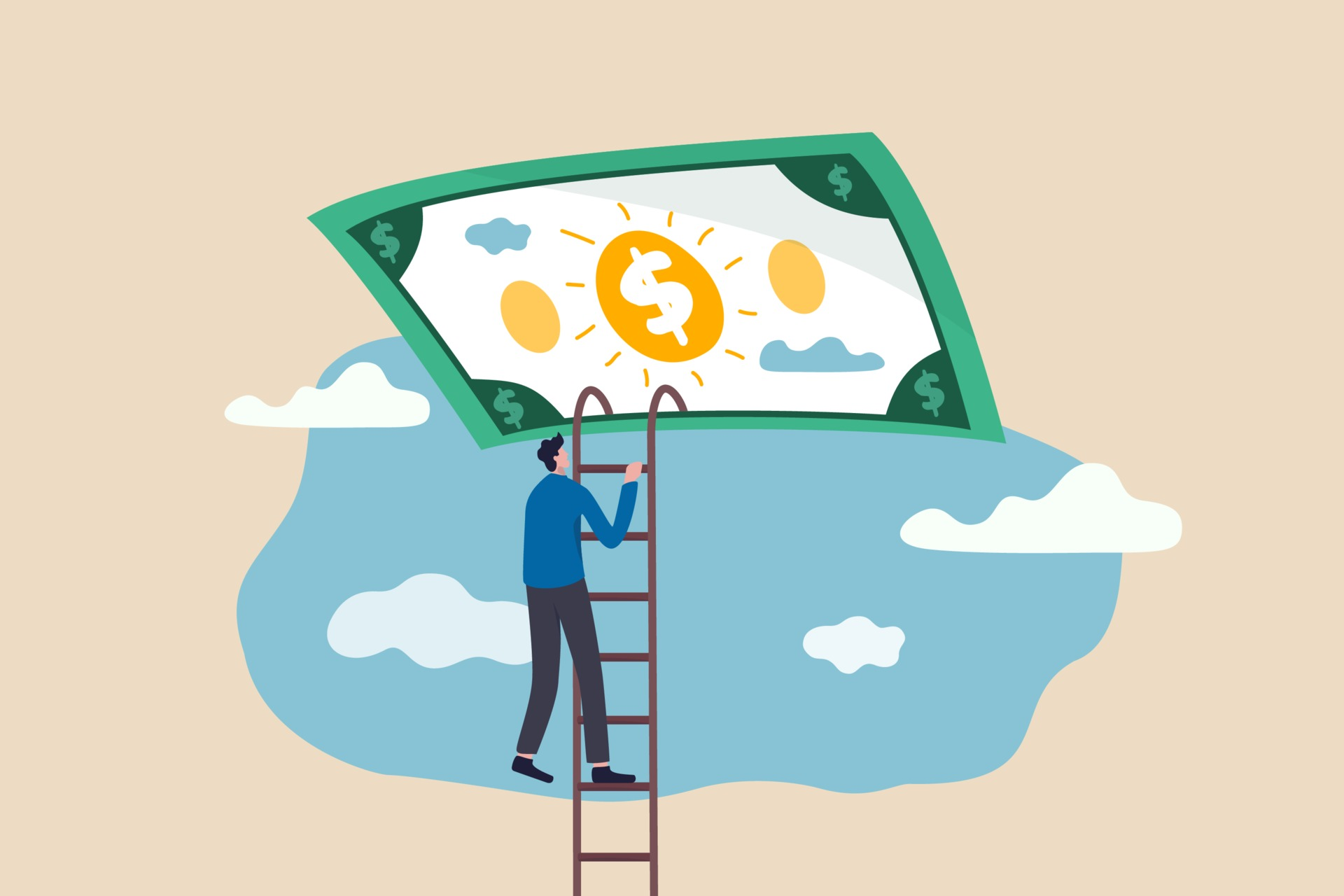 Ladder of success in financial freedom concept 2116604 Vector Art at Vecteezy