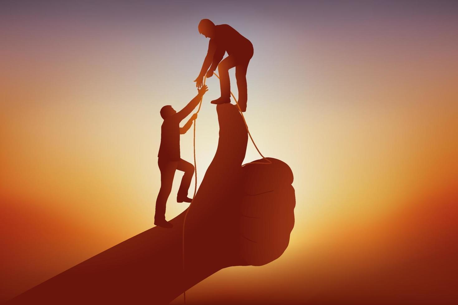 concepto de ayuda mutua entre socios comerciales 2116761 Vector en Vecteezy