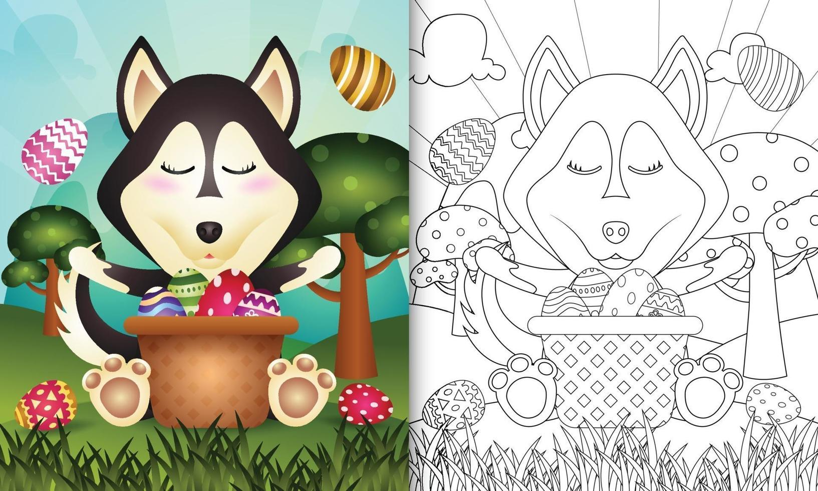 Libro para colorear para niños con temática feliz día de pascua con ilustración de personaje de un lindo perro husky en el cubo de huevo vector