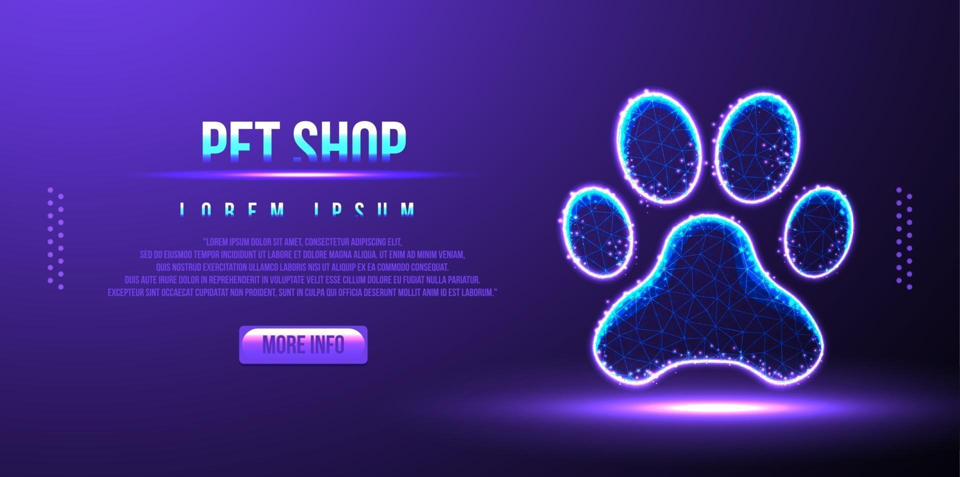 pet shop, paw, abstract low poly wireframe, vector illustration