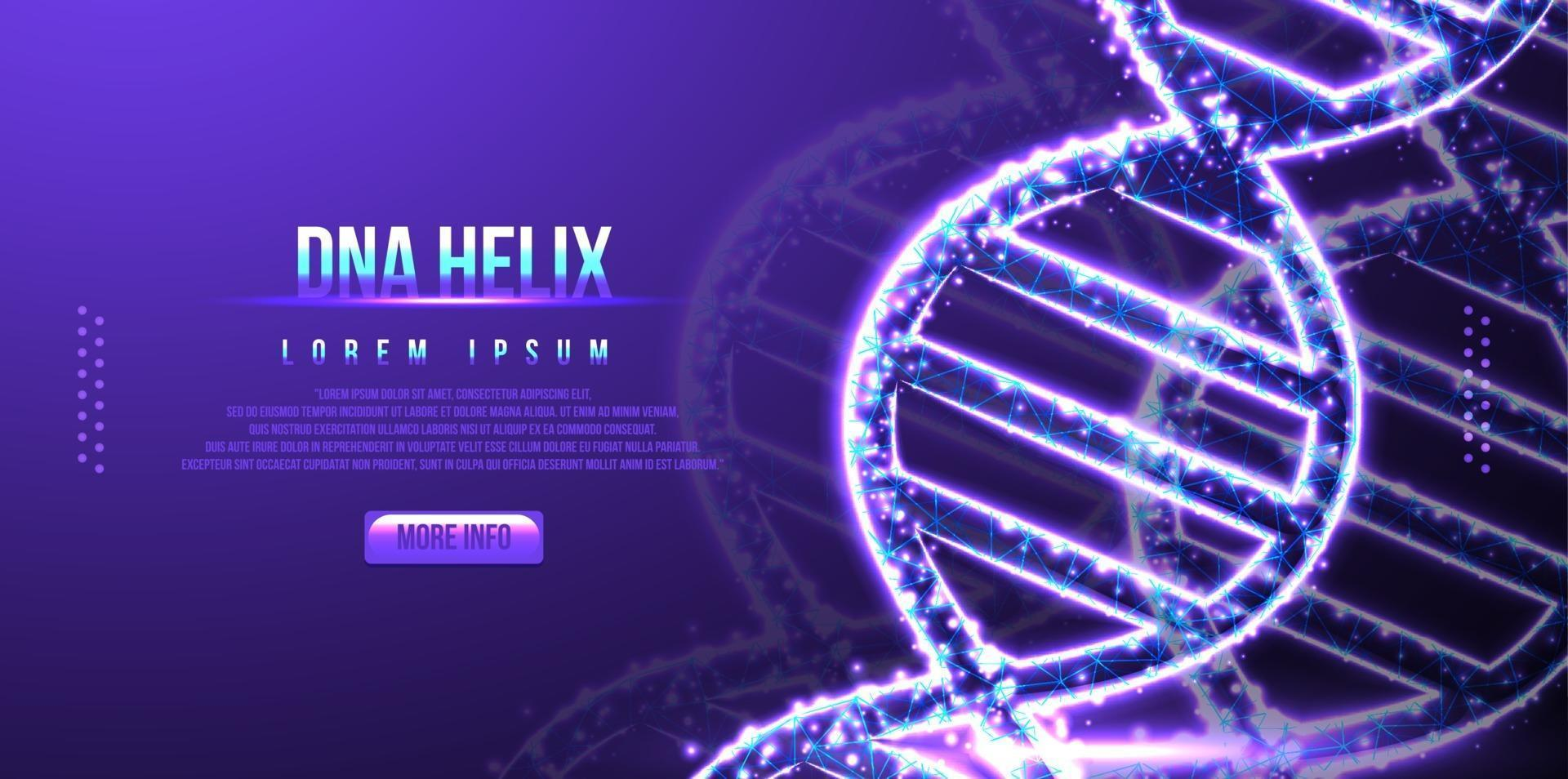 Futuristic DNA, low poly wireframe design vector