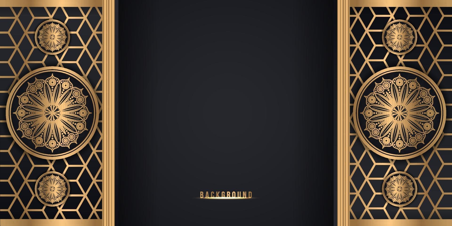 Black and gold decorative mandala flower style background vector