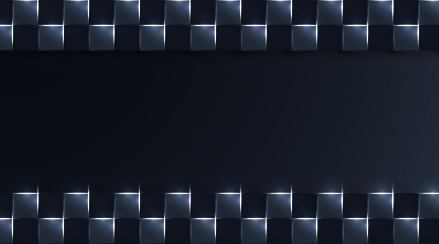 square realistic geometric dark background. white shine light, vector illustration
