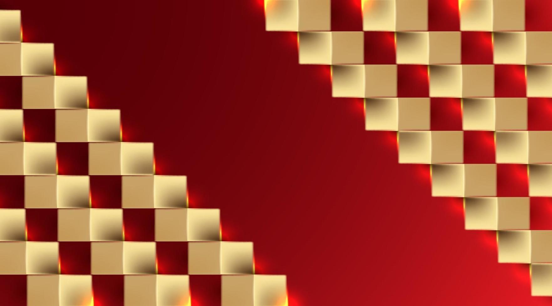 golden square paper art background vector illustration