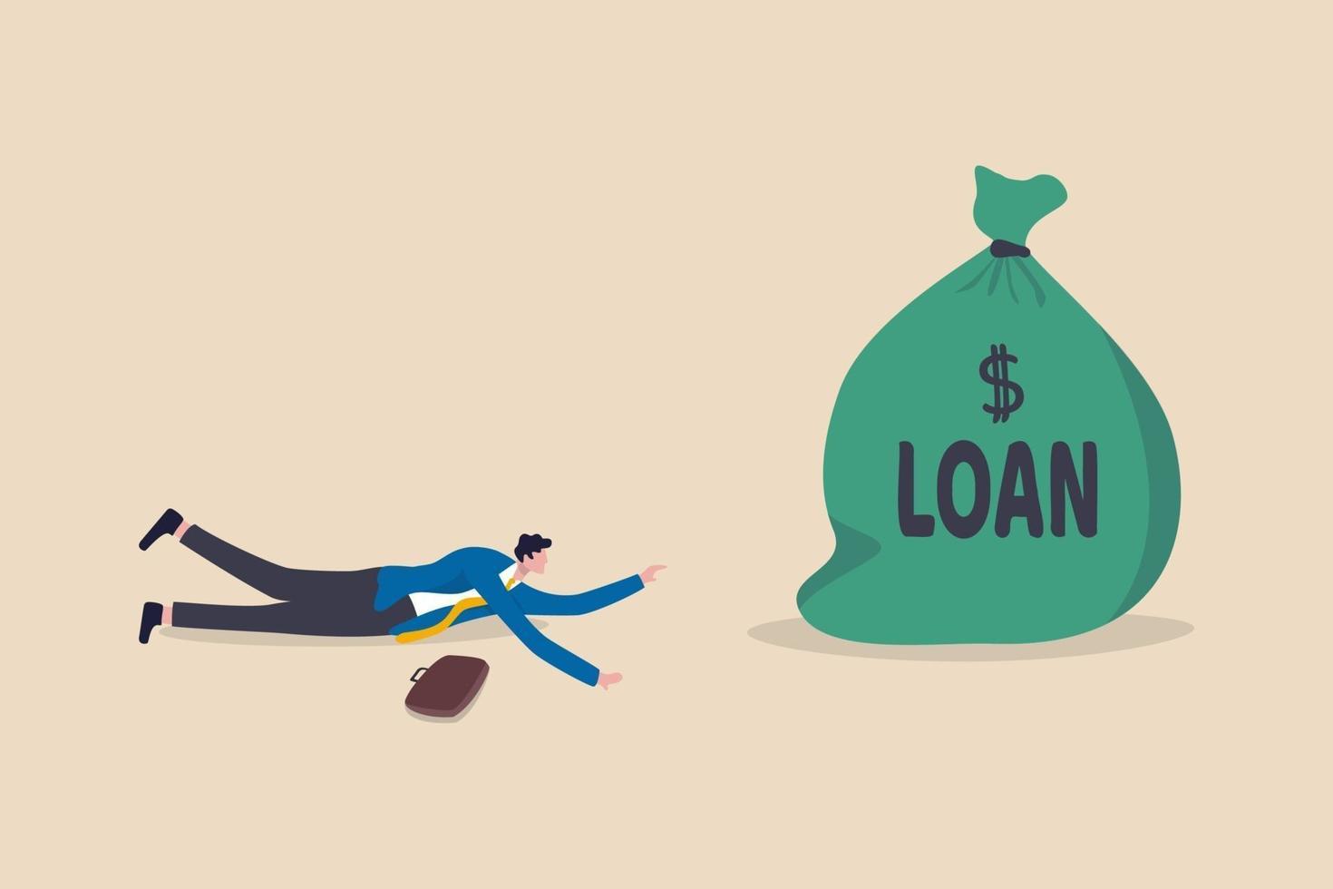 rompió el empresario en el suelo tratando de obtener un préstamo bancario vector