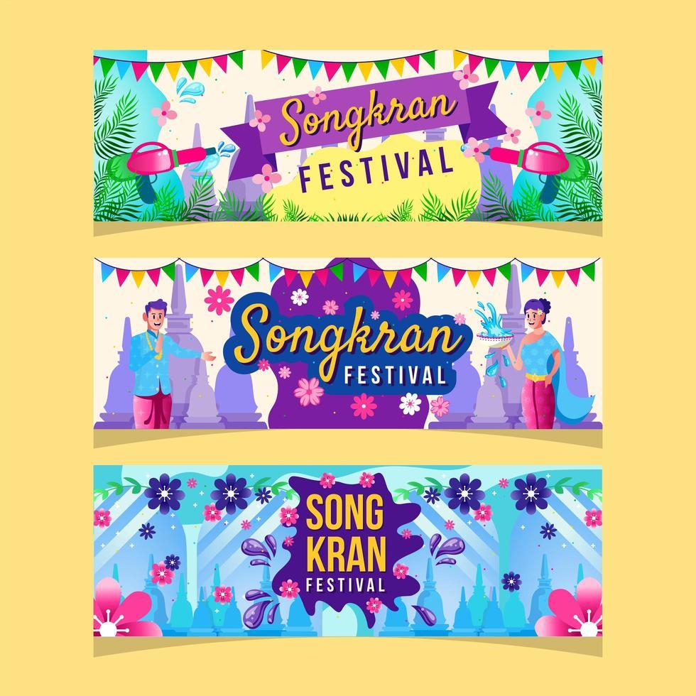 Colorful Songkran Festival Banner Template vector