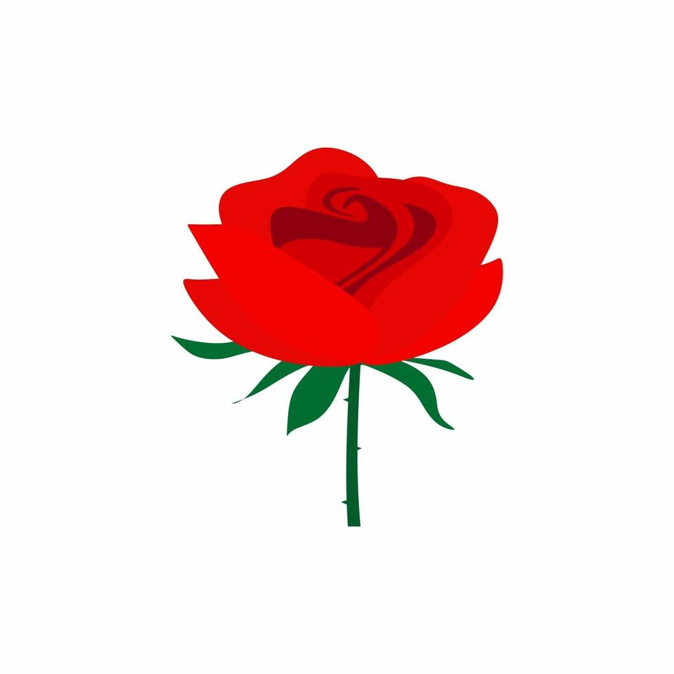 Red rose flower isolated on white background. Beautiful rose with green leaves on a long green stem. Flat vector decorative design elements. Illustration greeting card and invitation of the wedding
