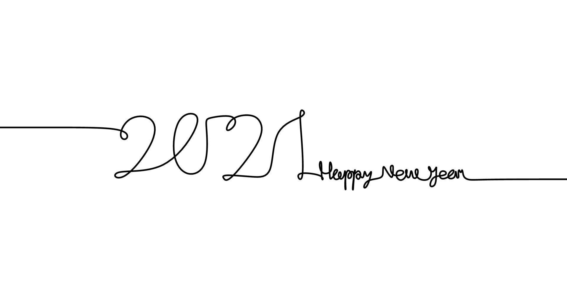 dibujo de una línea continua de un 2021 con texto de feliz año nuevo letras manuscritas boceto de arte de línea negra minimalista aislado sobre fondo blanco. año del toro. tarjeta de felicitación o diseño de banner vector