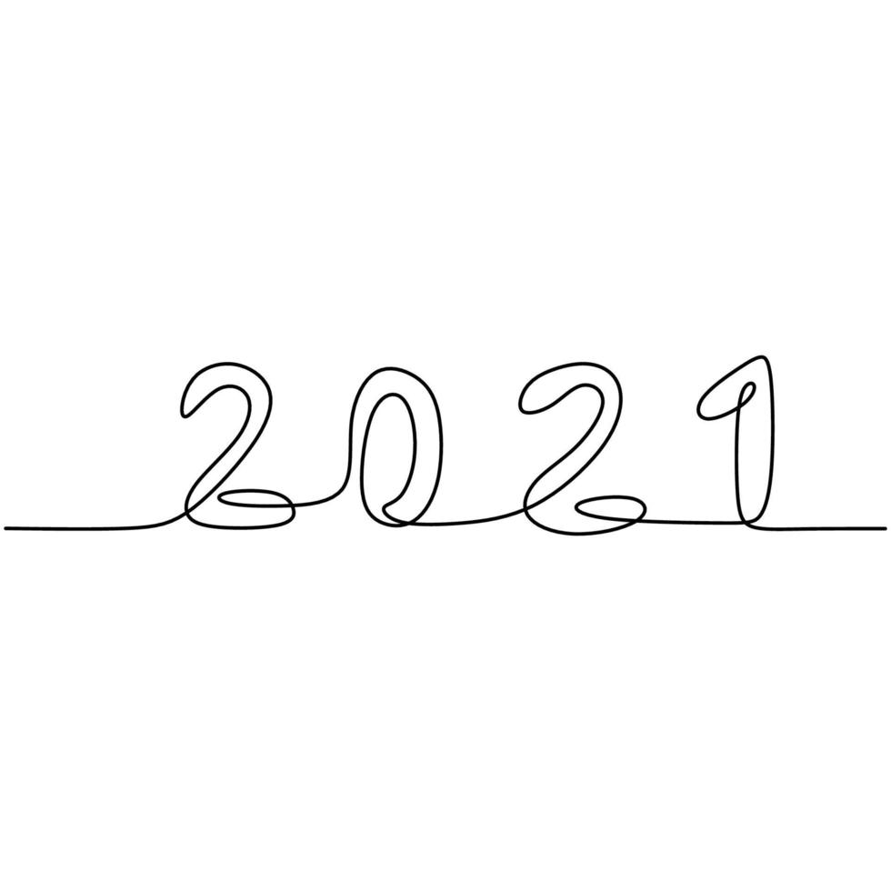 2021 New Year design in one continuous line art drawing style. The year of the buffalo bull. Welcome the 2021 New Year. Celebrating new year party concept minimalism design. Vector illustration