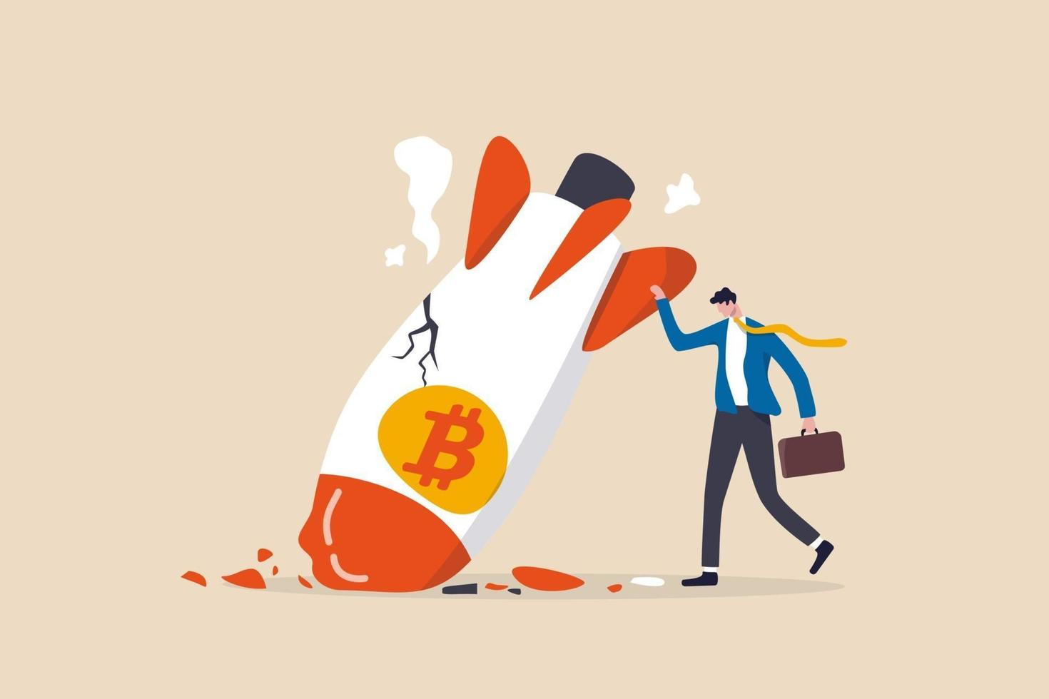 Bitcoin price collapse, crypto currency volatility price roaring fast and fall down causing investor huge loss concept vector