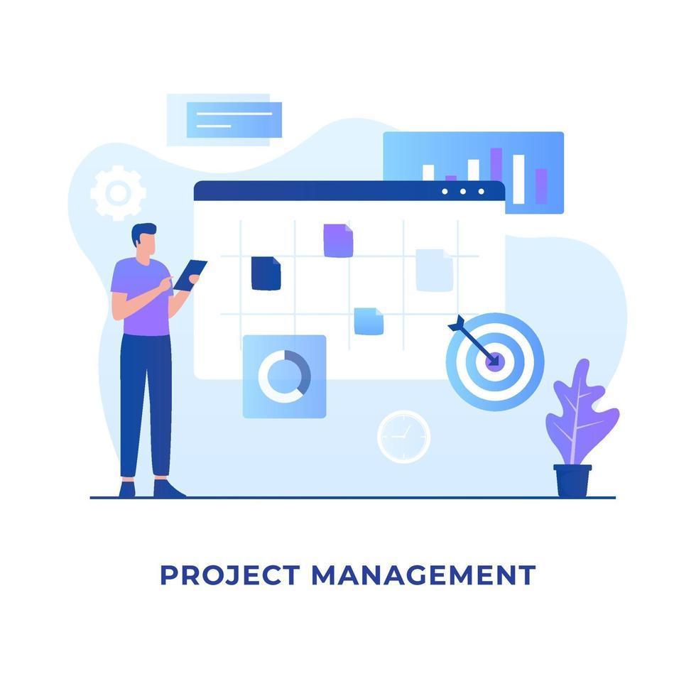 Flat design of project management concept vector