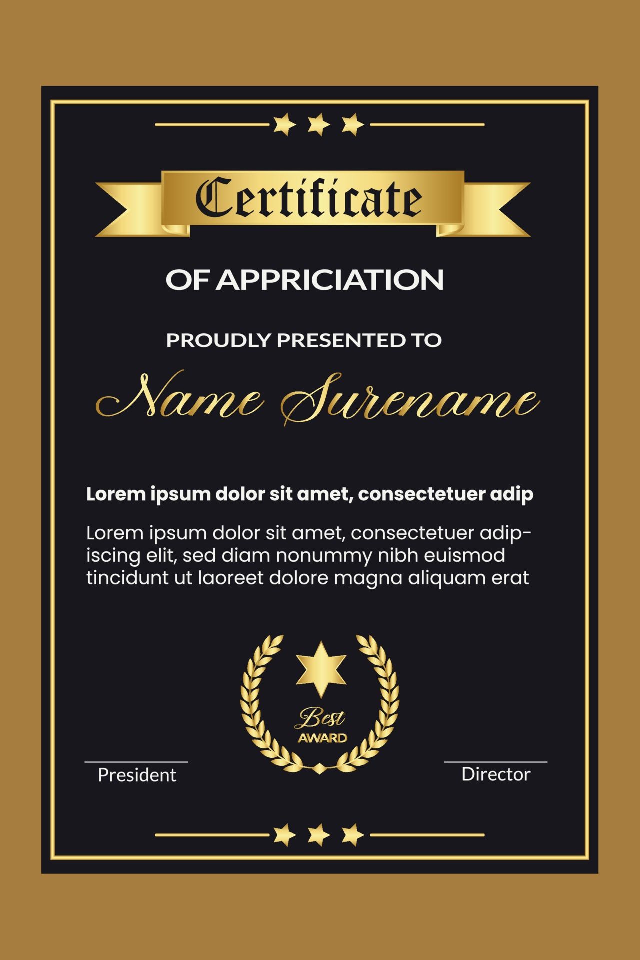 Professional certificate design for best employee award template Within Professional Award Certificate Template