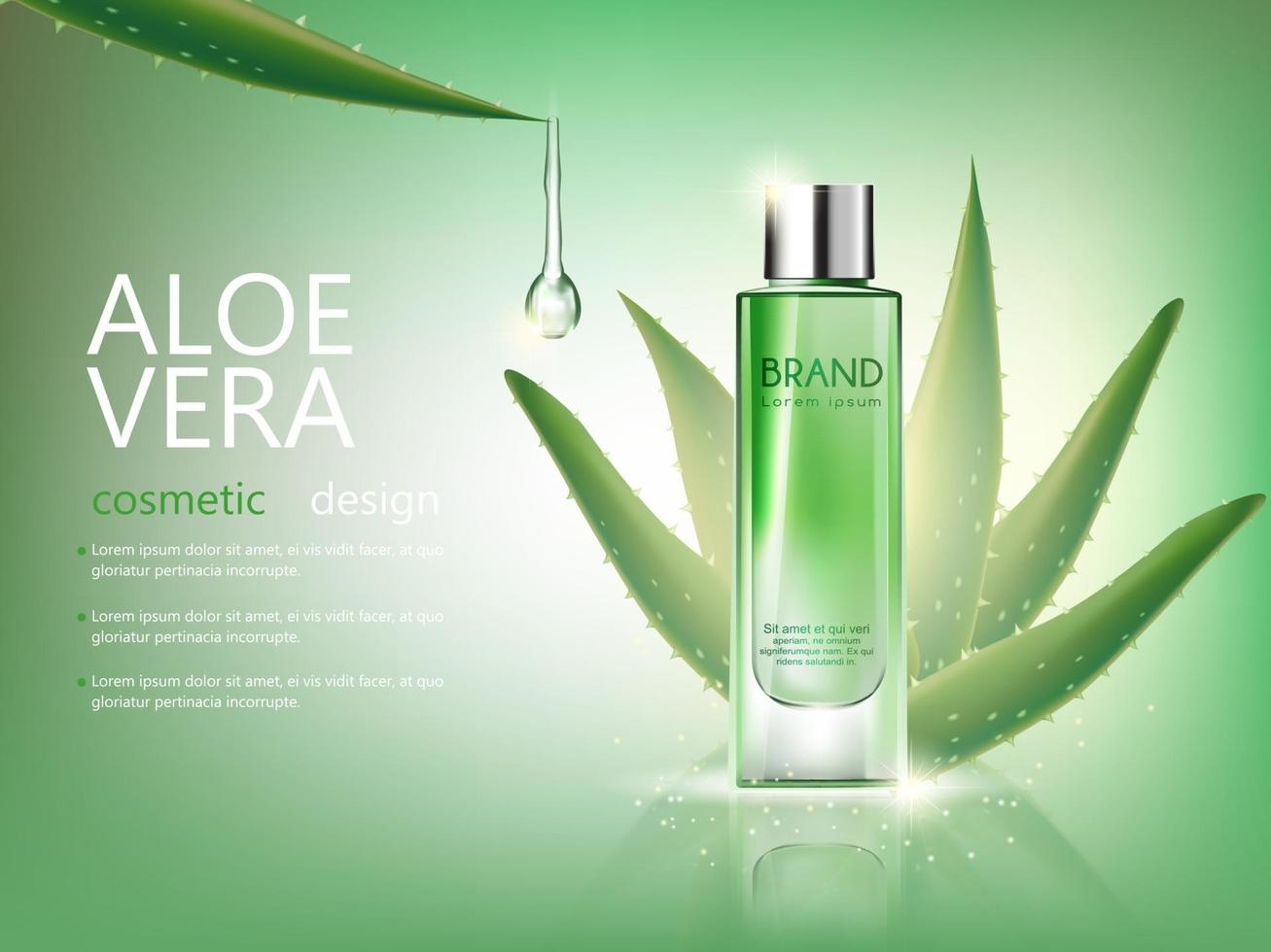 vector bottle aloe vera cosmetic mockup on green background, with your brand, ready for print ads or magazine design. Transparent and shine, realistic 3d style