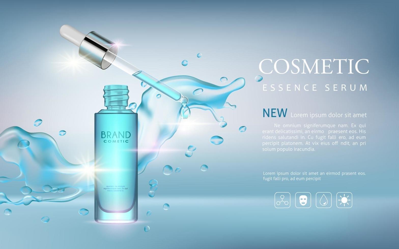 Realistic serum cosmetic advertisement editable banner vector