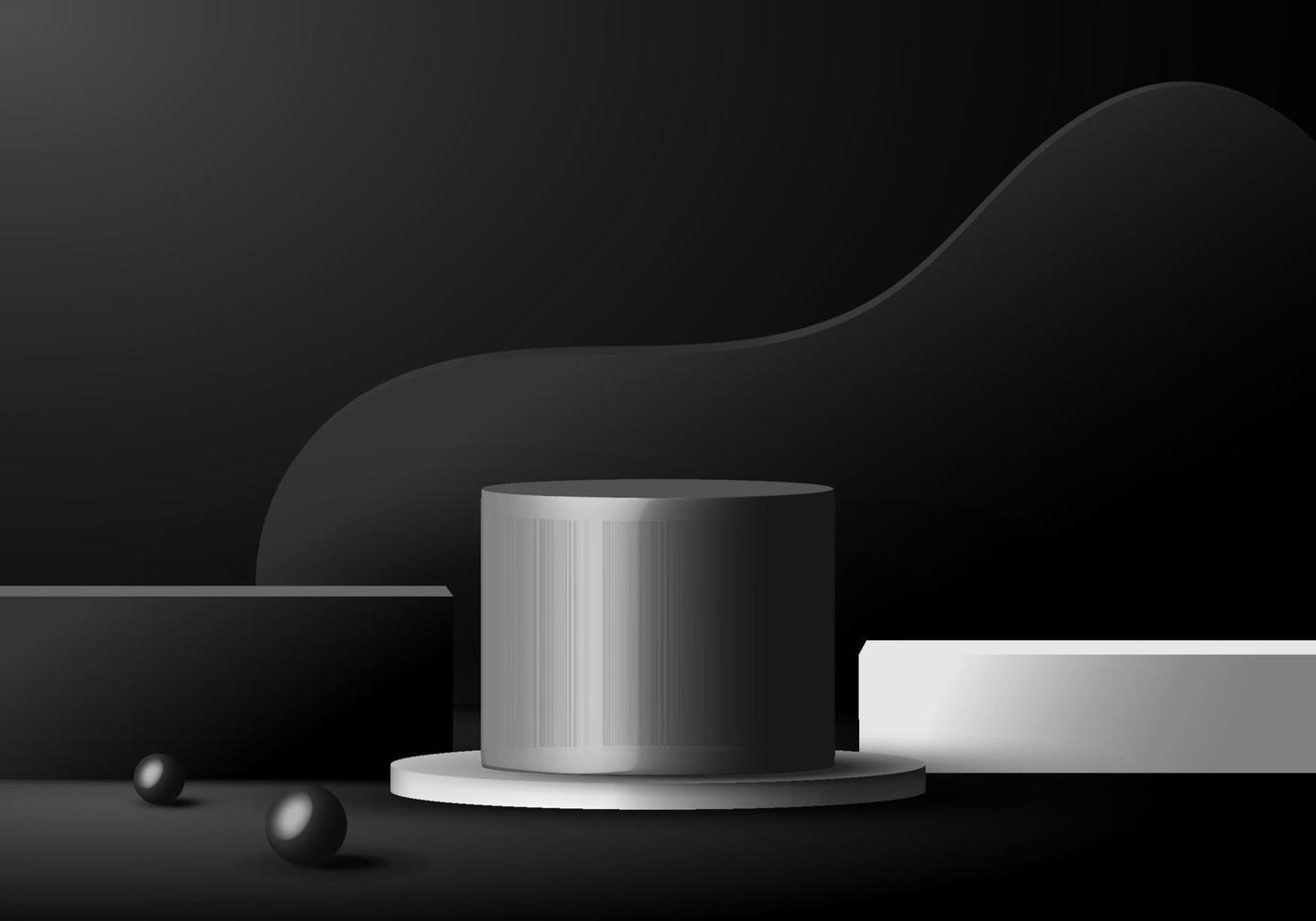 3D minimal scene black and white podiums geometric forms in dark background. vector
