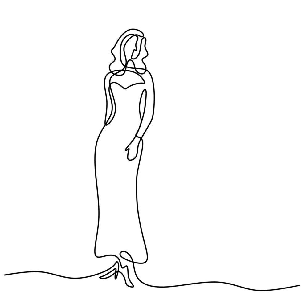 modelo de mujer de belleza con vestido sexy. una mujer de dibujo de línea continua en pose elegante vestido de pie y se ve tan bonita aislada sobre fondo blanco. concepto de vestido de moda femenina vector