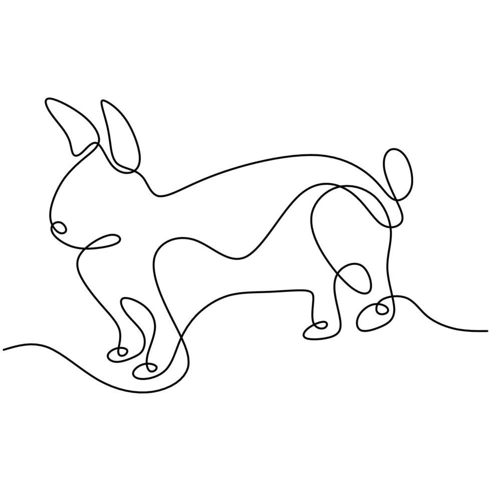 liebre dibujo continuo de una línea. Conejito de Pascua saltando en el jardín aislado sobre fondo blanco. lindo concepto de animales de compañía. vector dibujado a mano ilustración minimalista
