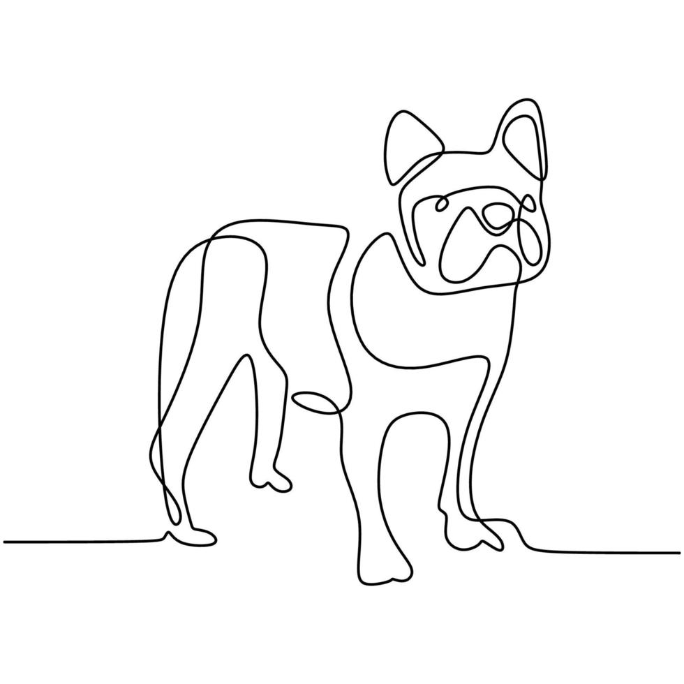 Perro de caza un dibujo de línea continua sobre fondo blanco. perrito divertido es pose de pie. el concepto de vida silvestre, mascotas, veterinaria. Ilustración de vector de estilo minimalista dibujado a mano. icono de mascota amigable