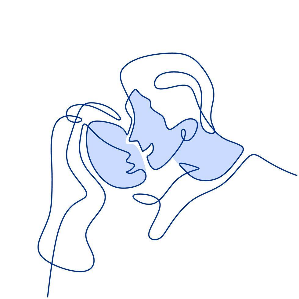 dibujo continuo de una línea de la feliz pareja joven de pie y tomados de la mano juntos. pareja amorosa mujer y hombre en pose romántica aislado sobre fondo blanco. ilustración de diseño de minimalismo vectorial vector