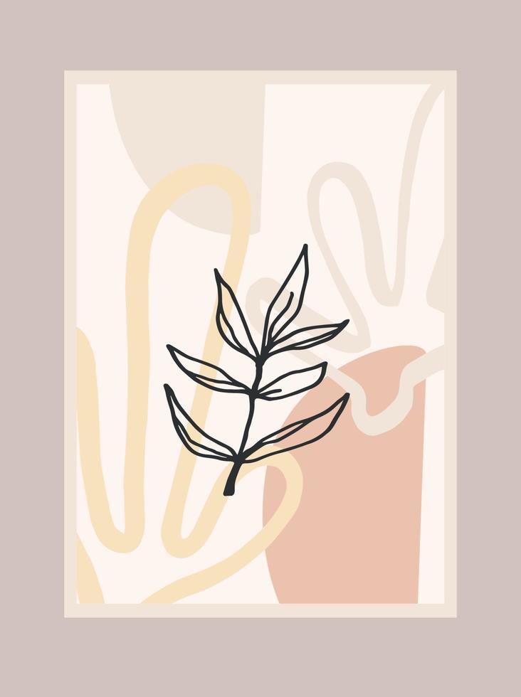 impresión de arte contemporáneo con planta abstracta. arte lineal. diseño vectorial moderno vector