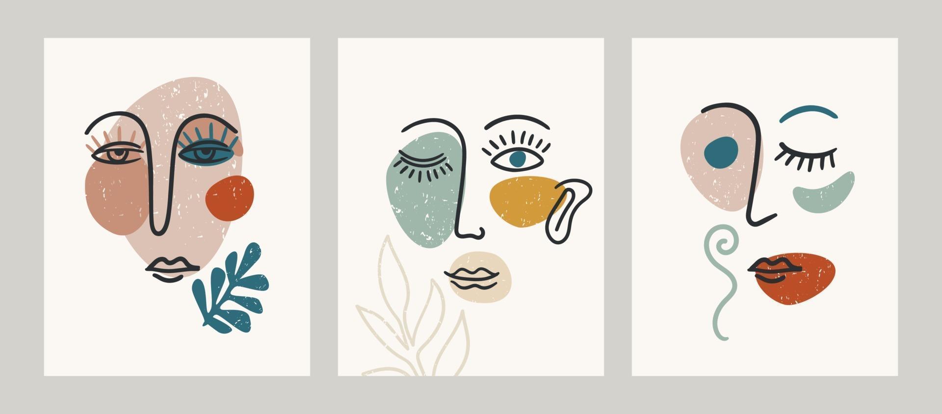 retrato contemporáneo. ilustraciones vectoriales con pintura facial de Trandy. vector