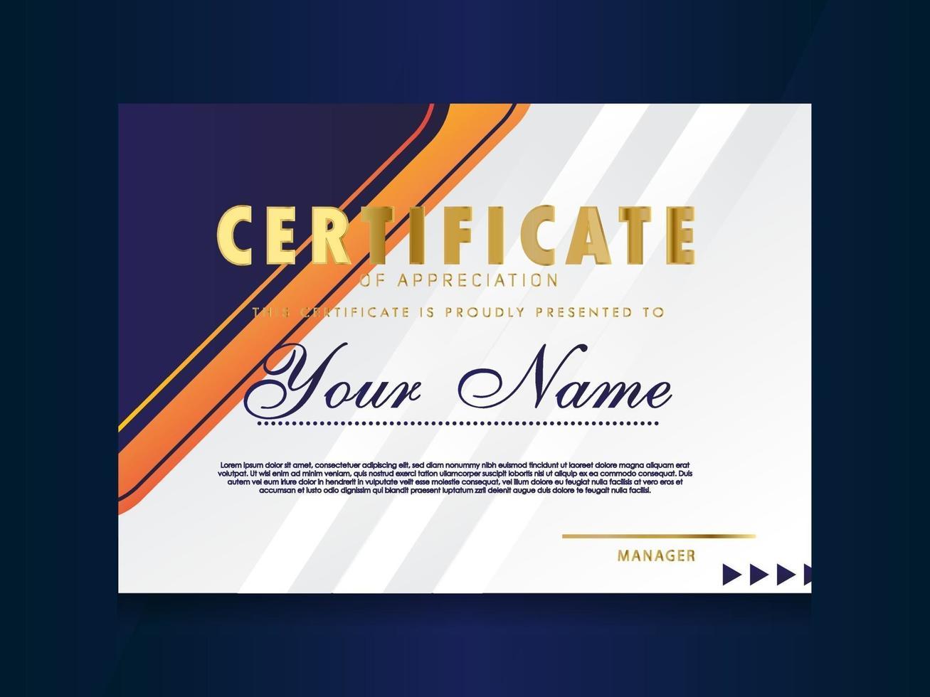 certificado de plantilla de reconocimiento diseño geométrico de moda. vector