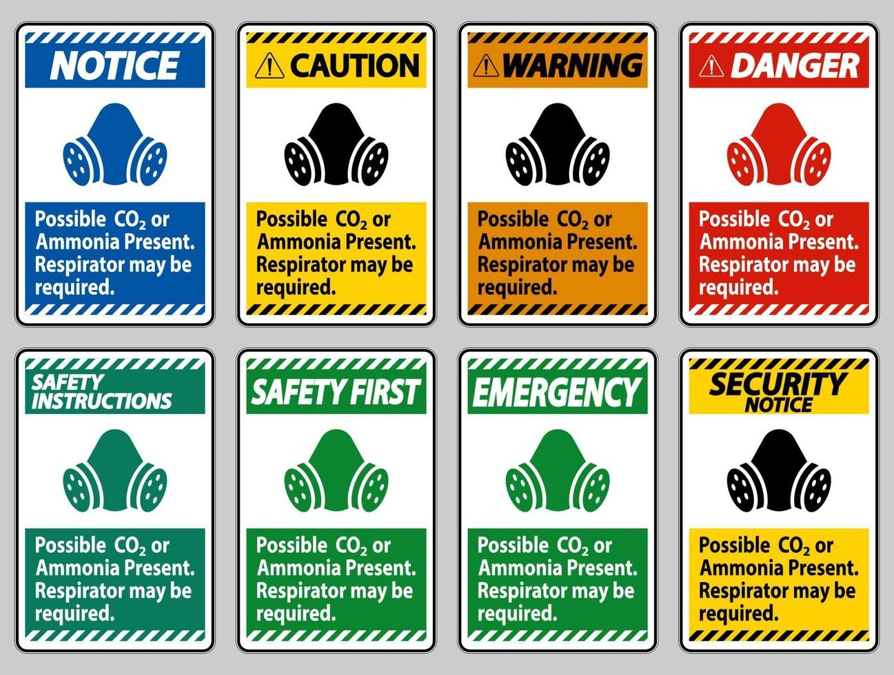 PPE Sign Possible Co2 Or Ammonia Present, Respirator May Be Required vector