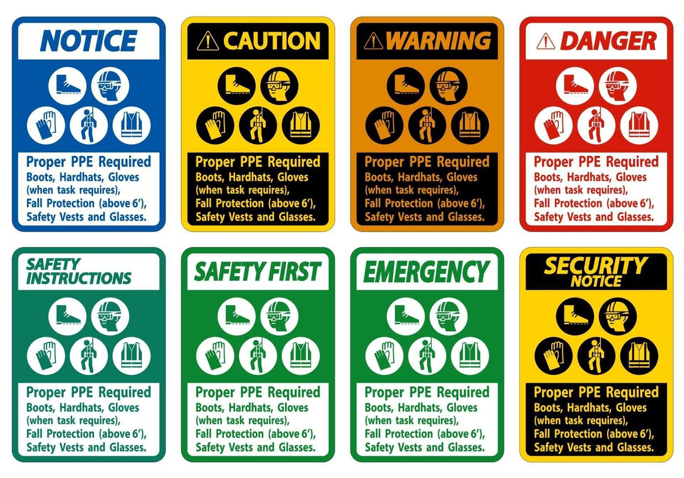 Proper PPE Required Boots, Hardhats, Gloves When Task Requires Fall Protection With PPE Symbols vector